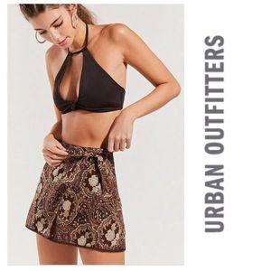 Brown paisley wrap skirt